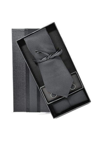 Oxford Collection Corbata de hombre, Pañuelo de Bolsillo y Gemelos ...