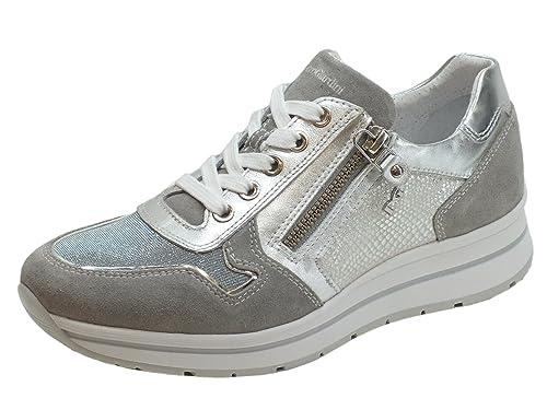 Sneakers NeroGiardini per donna in pelle argento e camoscio grigio