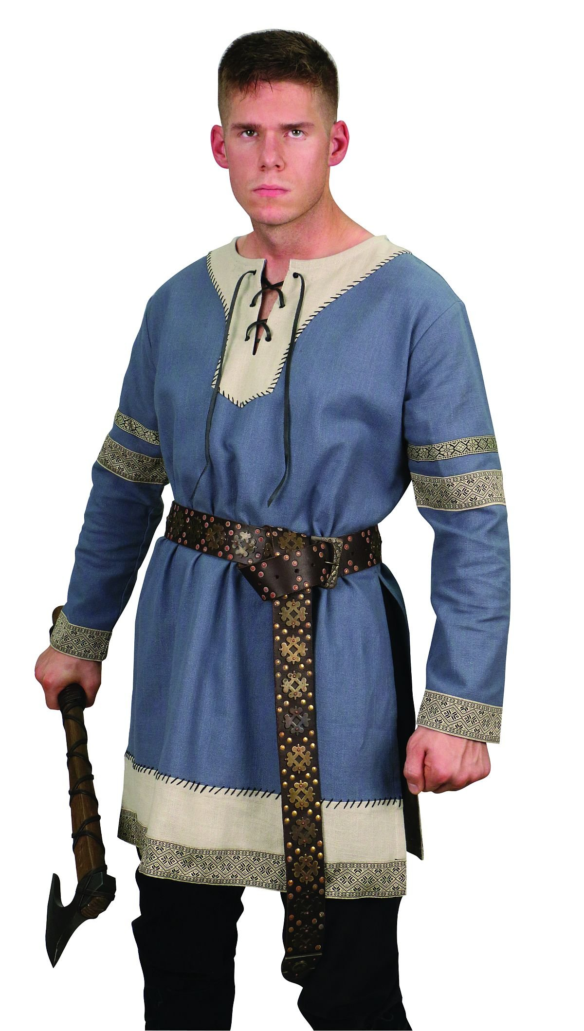 Museum Replicas Viking Noble's Cotton Tunic Medieval Men's Dark Ages Halloween Costume (S/M, Steel Blue) by Museum Replicas (Image #1)
