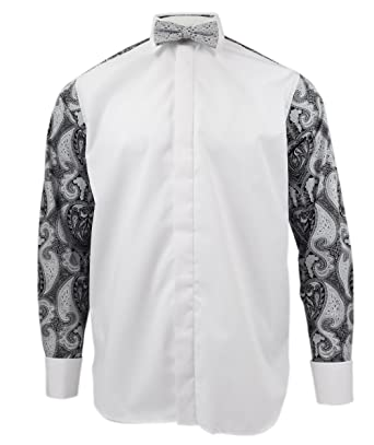 70b868972d74 Rocola Wing Shirt Dress with Paisley Abstract Print Back Long Sleeve Shirts  with Bow Tie -