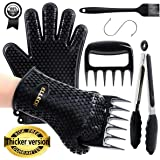 ELLECK Silicone BBQ/Cooking Gloves -Meat Shredder Claws -Kitchen Tongs -Silicone Brush Set, Silicone Heat Resistant Grilling BBQ, Oven, Grill, Baking, Cooking/Oven Gloves & Barbecue Claws (Black Set)