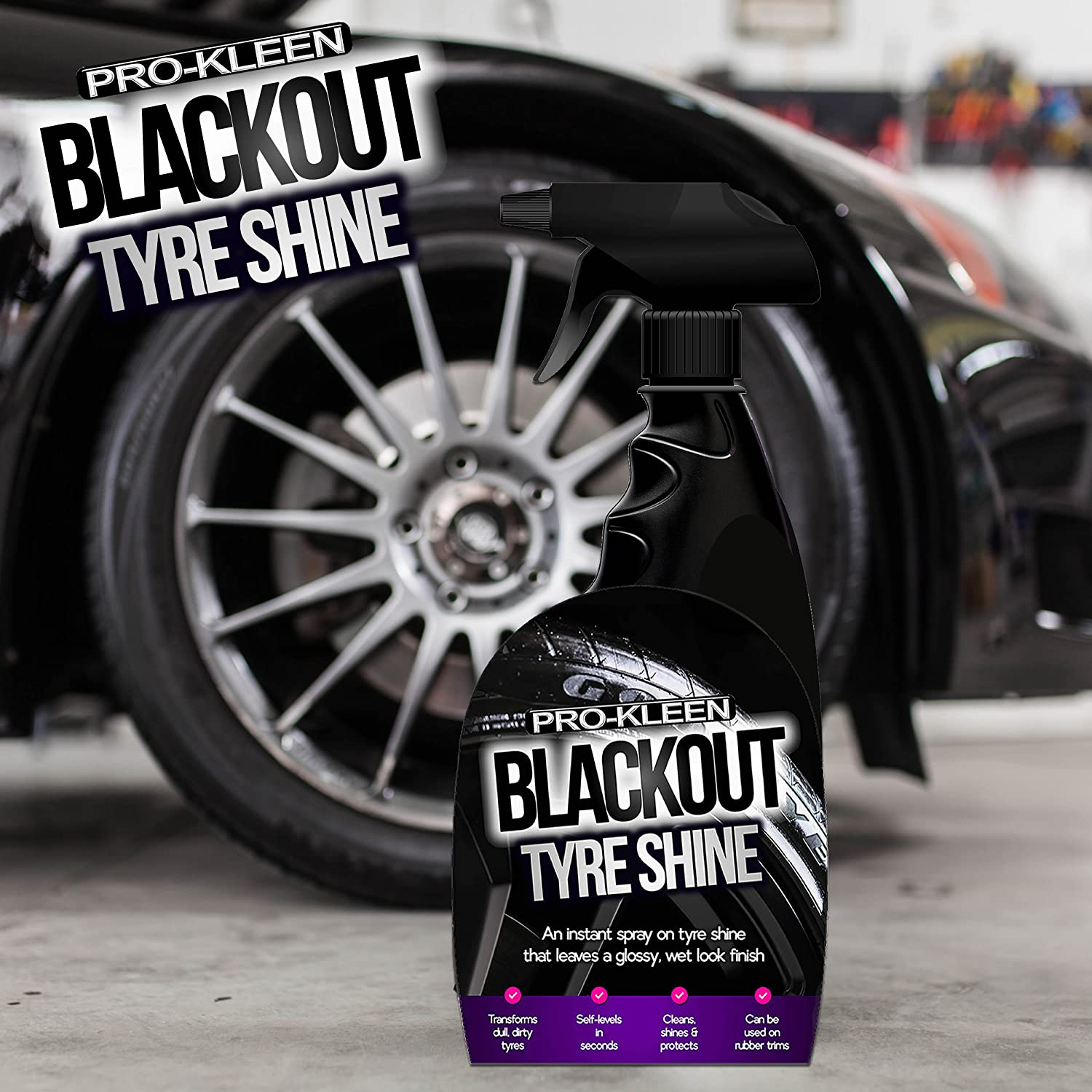 Pro-Kleen Blackout Tyre Shine Spray for a Wet Look Glossy Finish  Revitalises Dull Tyres Premium Grade Instant Tyre Dressing Cleans, Shines &  Protects
