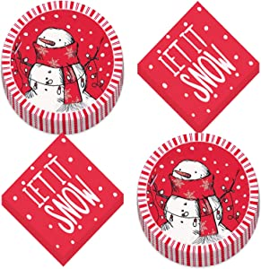 Red Stripe Rustic Snowman Christmas Holiday Paper Dessert Plates and Beverage Napkins (Serves 16)