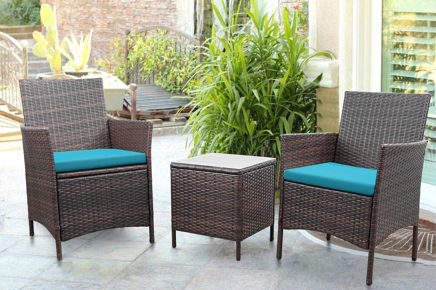 Greesum 3 Pieces Outdoor Patio Furniture Sets, PE Rattan Wicker Chair Conversation Sets with Soft Cushion and Glass Coffee Table for Garden Backyard Porch Poolside, Brown and Blue
