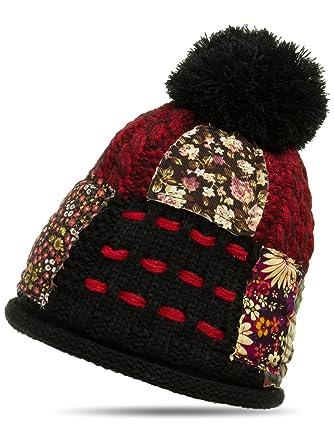 CASPAR MU131 Bonnet à pompon en patchwork, Couleurnoir;TailleOne Size