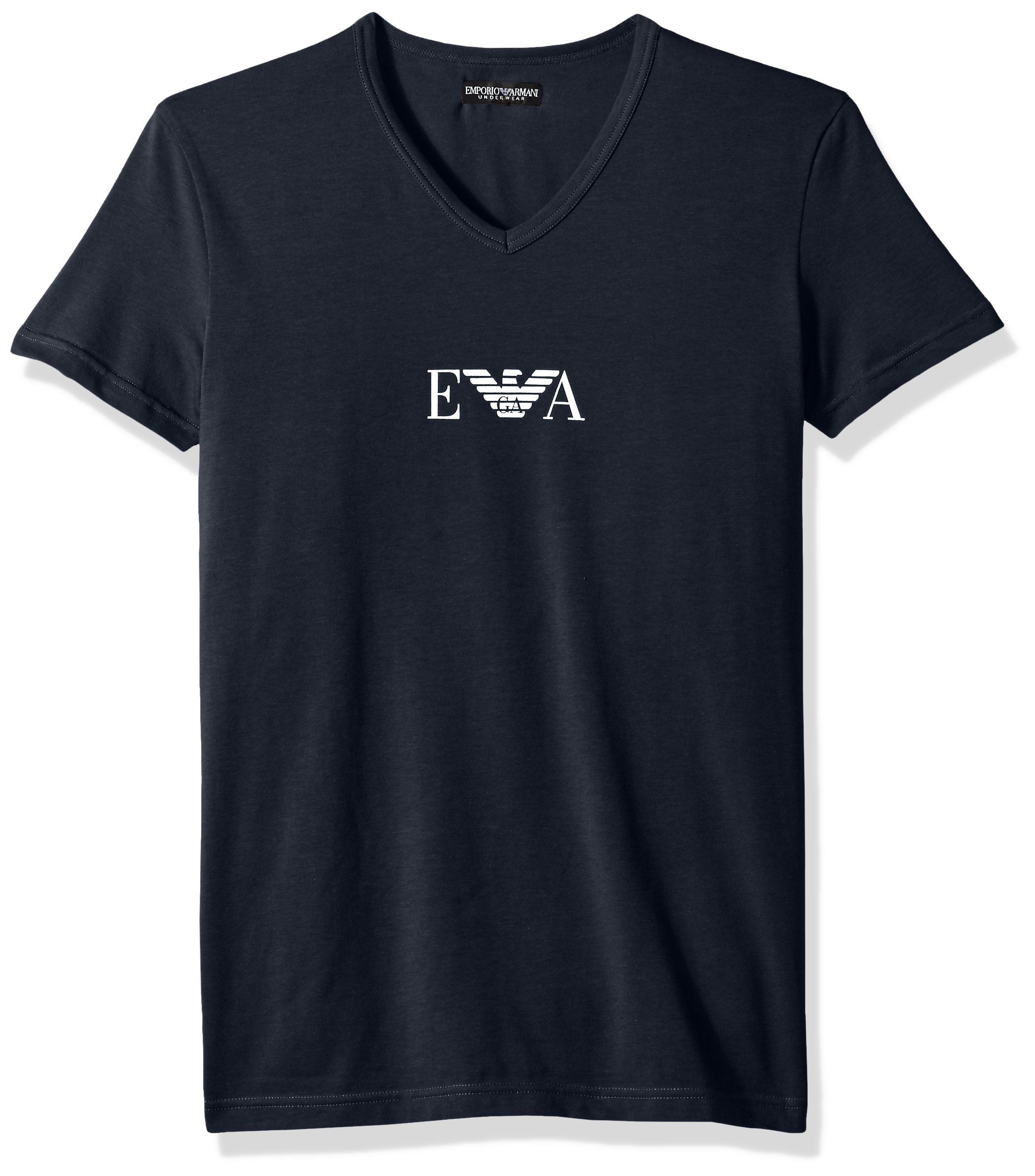 Emporio Armani Men's Stretch Cotton Multipack Vneck T-Shirt, Marine, M