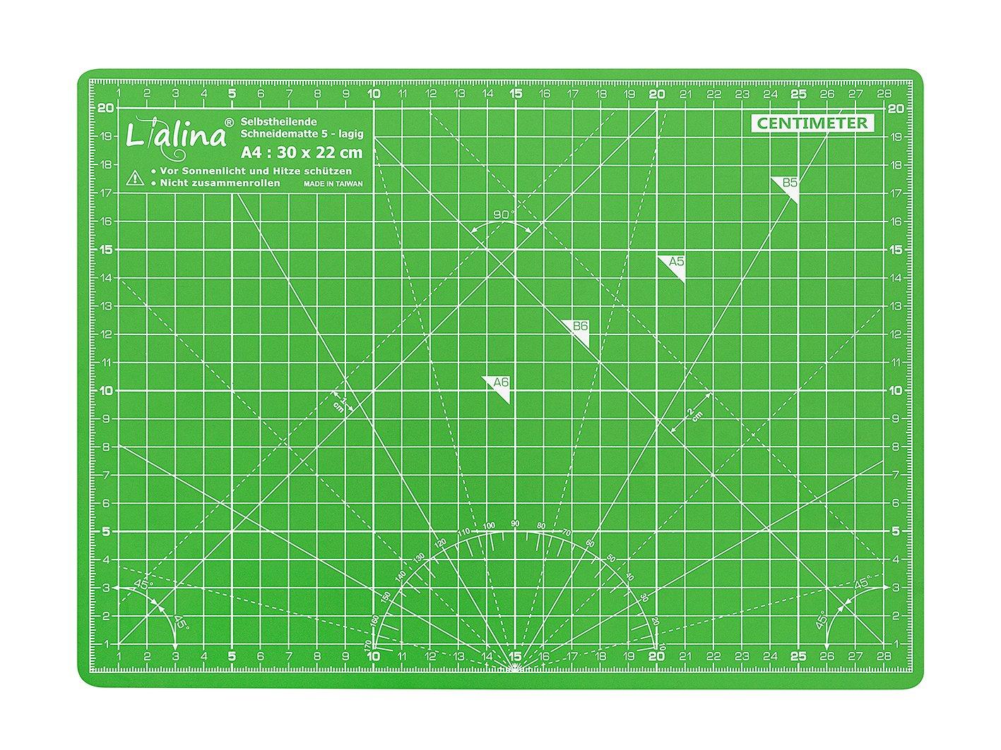 Lialina® Tappetino da Taglio Autorigenerante A4 30*22 cm per patchwork, modellismo, artigianato, tessuto