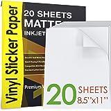 AGODEO Vinyl Sticker Paper Matte for Inkjet Printer 20 Sheets White, Premium Printable Decal Paper Tear & Scratch…