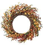 NeoL'artes 22inch Large Country Fall Berry Grapevine Wreaths with Grass and Leaves Rustic Wreath for Front Door Harvest…
