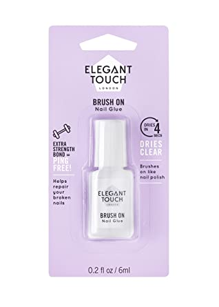 Elegant Touch cepillo de uñas pegamento transparente 6 ml: Amazon.es: Belleza
