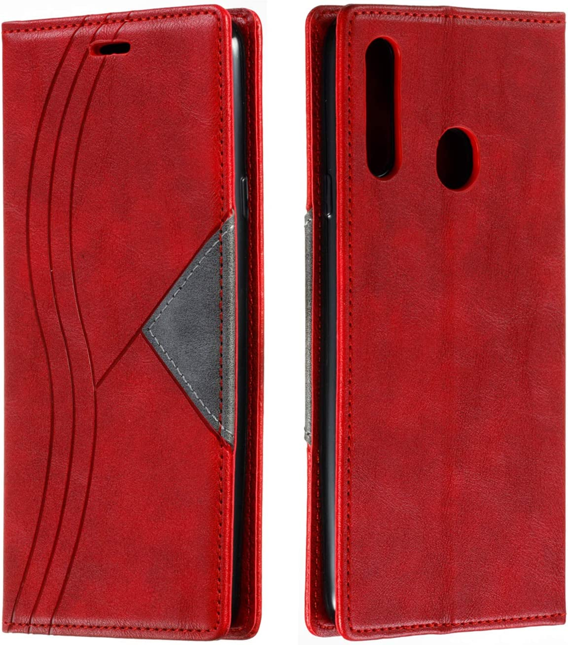 Snow Color Leather Wallet Case for Galaxy A20S with Stand Feature Shockproof Flip Card Holder Case Cover for Samsung Galaxy A20S - COYKB040086 Red
