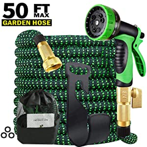 Garden Hose Expandable 50 Feet Lightweight Kink Free Water Hose 9 Function Spray Hose Nozzle 3-Layer Latex with 3/4 Brass Fittings Easy Storage Flexible Garden Hose for Car Washing/Dog Showering