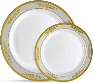 Laura Stein Designer Dinnerware Set | 64 Disposable Plastic Party Plates | White Plate with Gold Rim & Brushed Grey Accents Includes 32 x 10.75