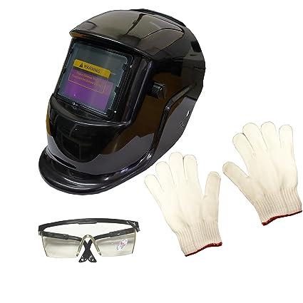 Casco de Soldadura Careta de Soldar Mascara Soldador Negra Lente Auto Oscurecido.