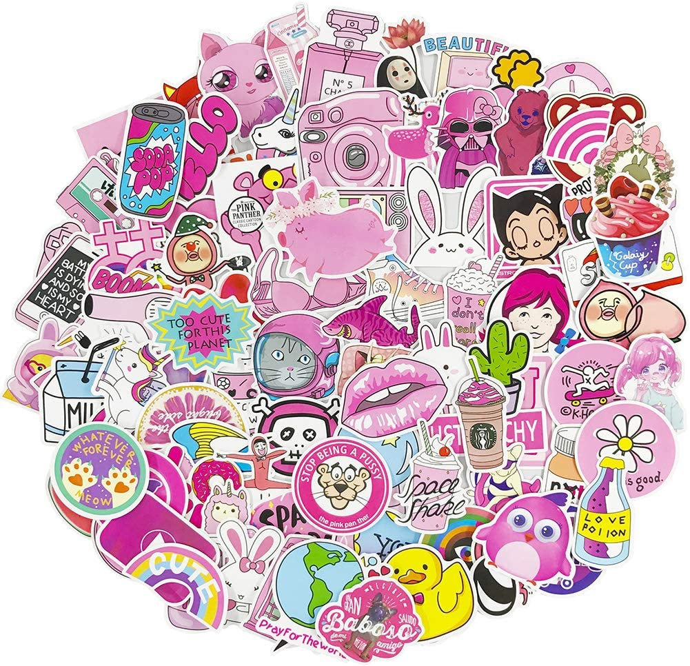 Cute Water Bottle Stickers 100 Pcs Pack Girl Laptop Vinyl Waterproof Sticker Skateboard Pad MacBook Car Snowboard Bicycle Luggage Decal