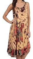 Sakkas Butterfly Tie Dye Tank Sheath Caftan Mid Length Cotton Dress