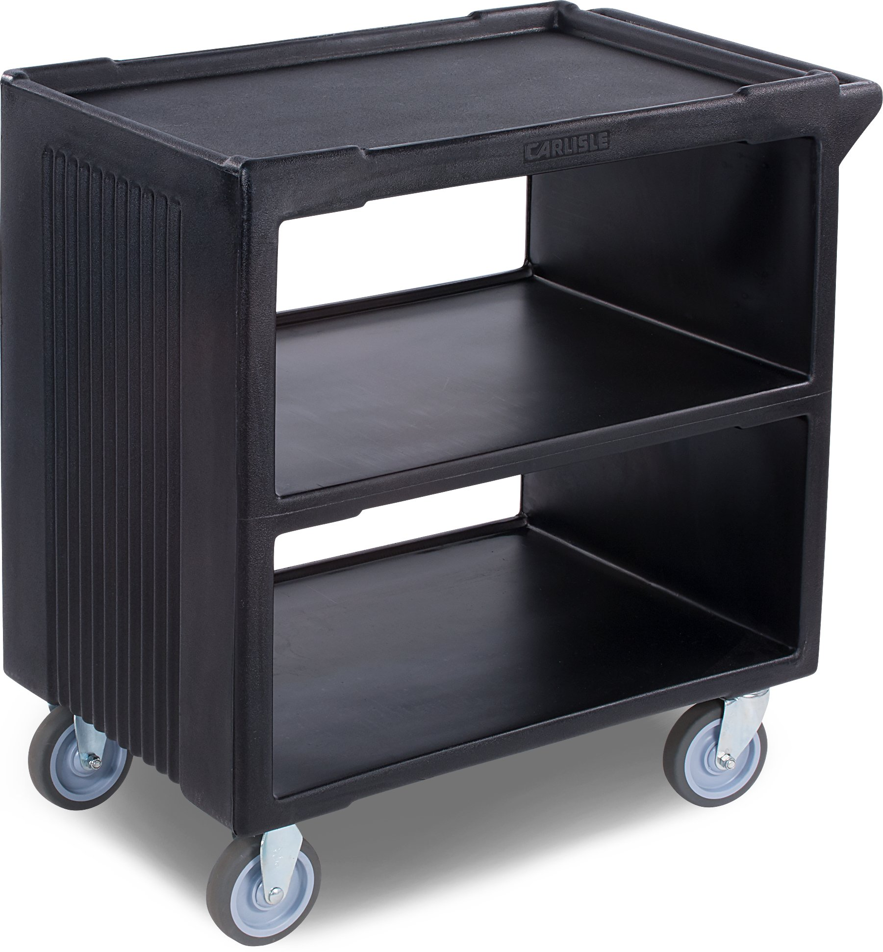 Carlisle SBC23003 Polyethylene Service Cart with 2 Fixed Casters and 2 Swivel Casters, 33.63'' L x 20.25'' W x 34.25'' H, Black