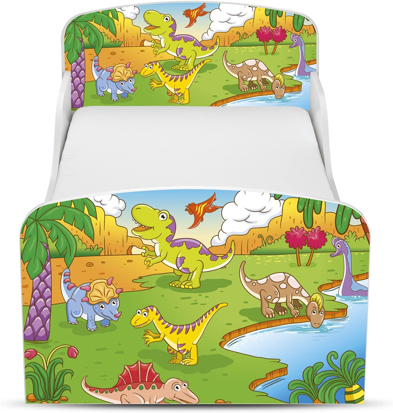 Price Right Home Dinosaur Design MDF Toddler Bed with storage Fully Sprung Mattress