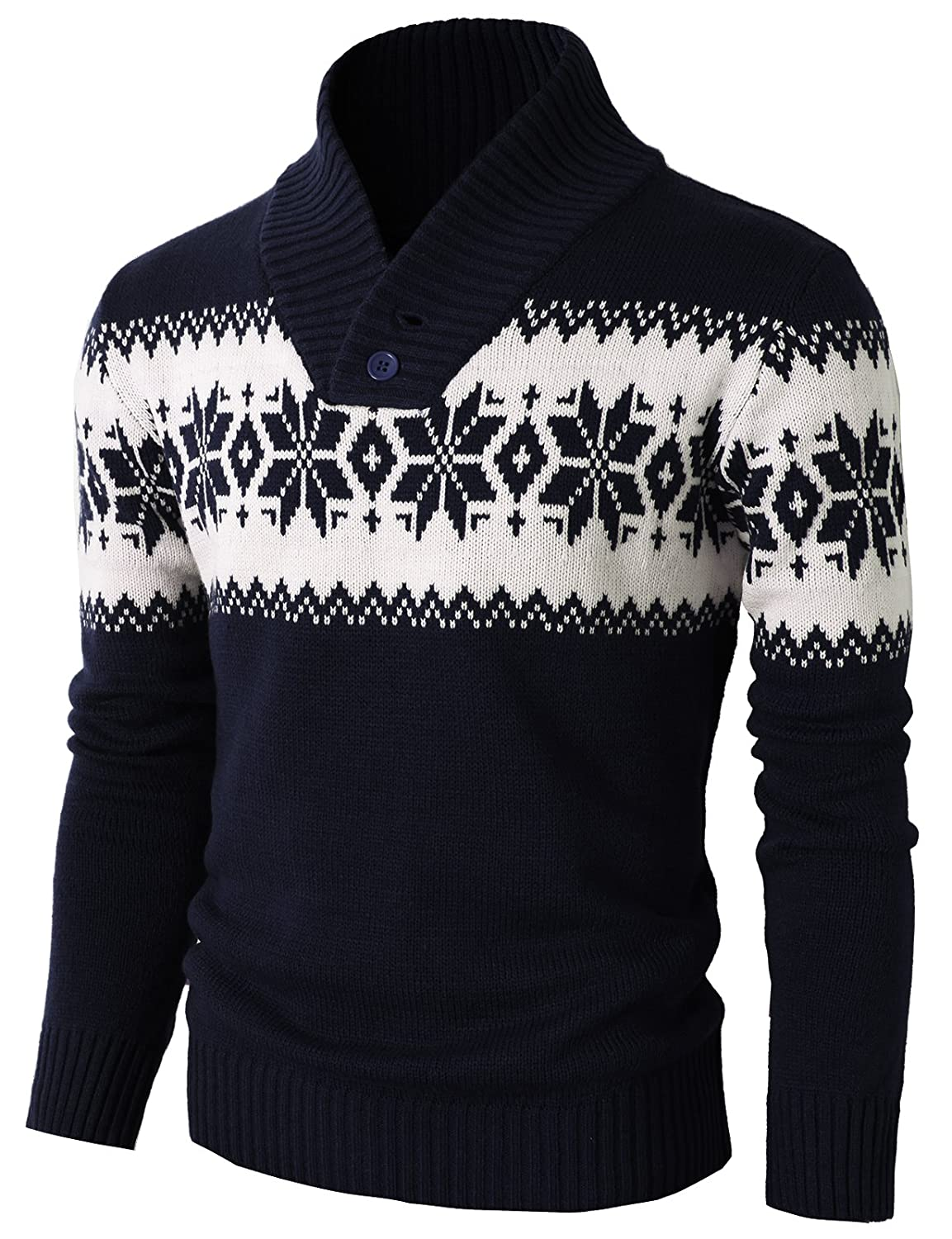 Men's Vintage Style Sweaters – 1920s to 1960s H2H Mens Fashion Shawl Collar Pullover Christmas Sweater With Snowflake Pattern $32.50 AT vintagedancer.com