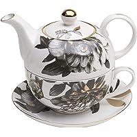 Grace Teaware Porcelain 4-Piece Tea for One (Black Gold Peony)
