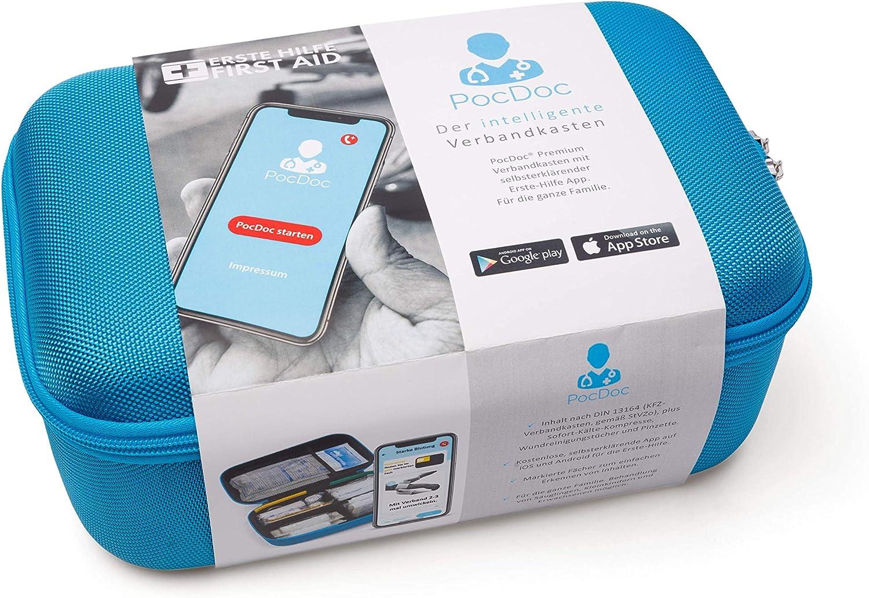 iOS /& Android KFZ F/üllung nach DIN 13164 mit gratis Erste Hilfe App PocDoc Premium Intelligenter Verbandkasten f/ür die Erstversorgung - Sicherheit im Auto /& Zuhause