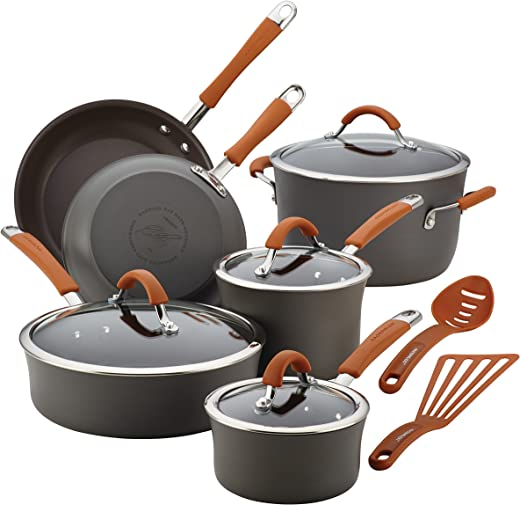 مجموعة أواني وقلايات طبخ من Rachael Ray 87635 Cucina آمنة للاستخدام في غسالة الأطباق وصلب مؤكسد، 12 قطعة، رمادي بمقابض برتقالية