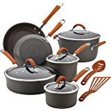 Rachael Ray Cucina Hard-Anodized Aluminum Nonstick Cookware Set, 12-Piece, Gray, Pumpkin Orange Handles