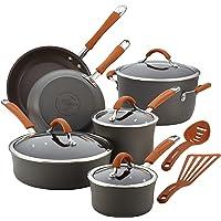 Rachael Ray Cucina Hard-Anodized Aluminum Nonstick Pots and Pans Cookware Set, 12-Piece, Gray, Pumpkin Orange Handles