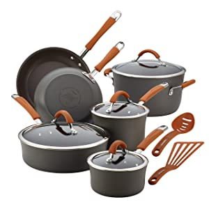 Rachael Ray Cucina Hard-Anodized Aluminum Nonstick Pots and Pans Cookware Set, 12-Piece, Gray, Pumpkin Orange Handles