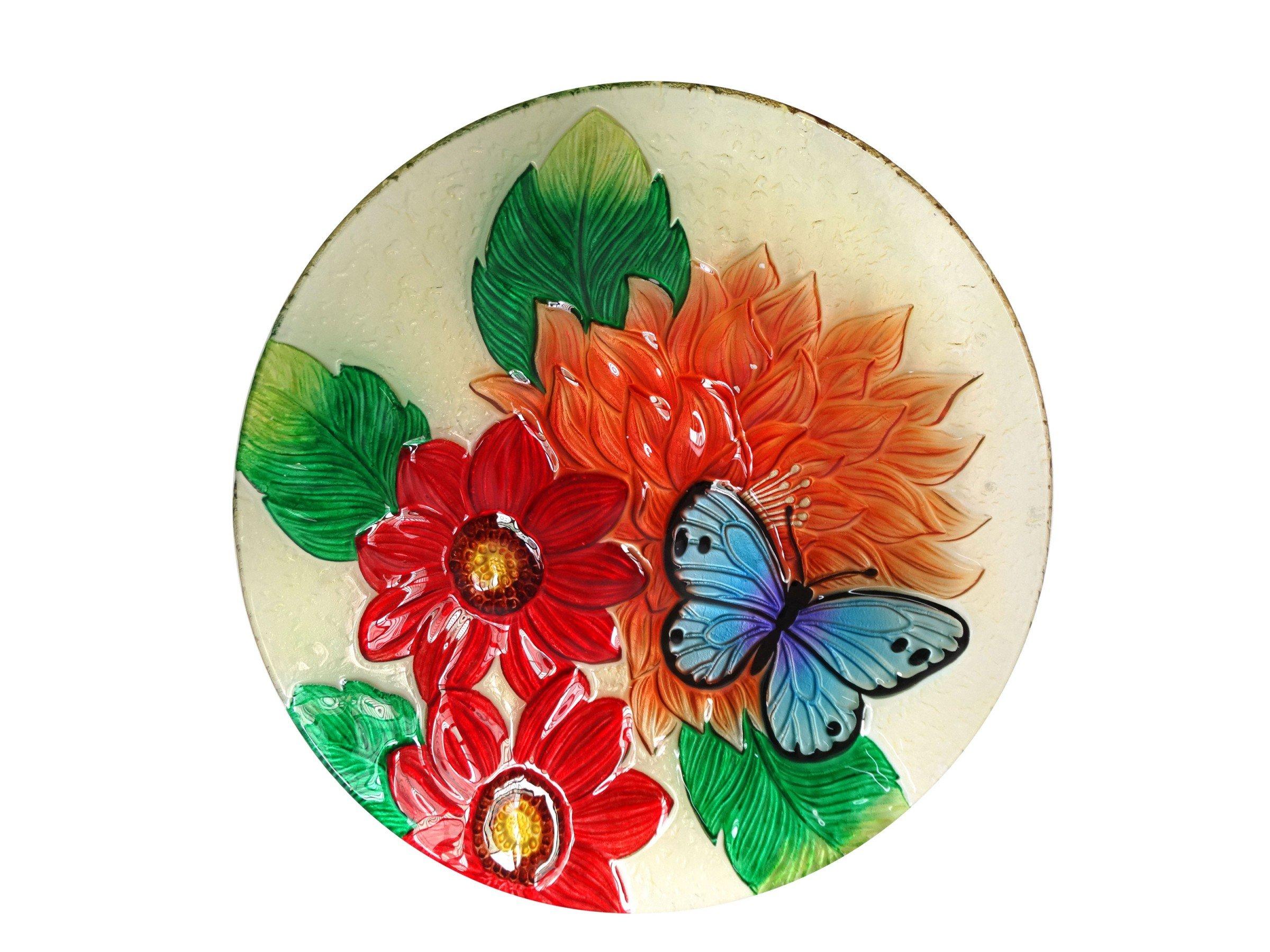 Alpine Corporation KPP182T-18 18'' Flower Butterfly Birdbath by Alpine Corporation