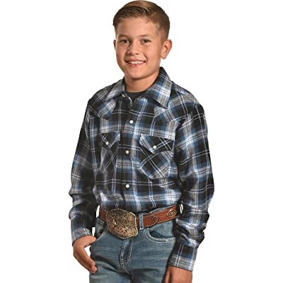 ELY CATTLEMAN Boys' Blue Flannel Western Plaid Shirt - 15101026Rg-82