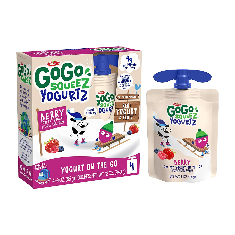 GoGo squeeZ yogurtZ, Berry, 3 Ounce (4 Pouches), Low Fat Yogurt, Gluten Free, Pantry-friendly, Recloseable, BPA Free Pouches