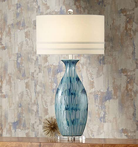 Annette Coastal Table Lamp Ceramic Blue Drip Vase Handcrafted Off White Oval Shade