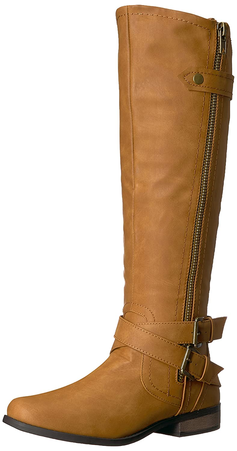 Rampage Women's Hansel Zipper and Buckle Knee-High Riding Boot B076HKLJCZ 7 B(M) US|Cognac Sn Cognac Smooth Smooth