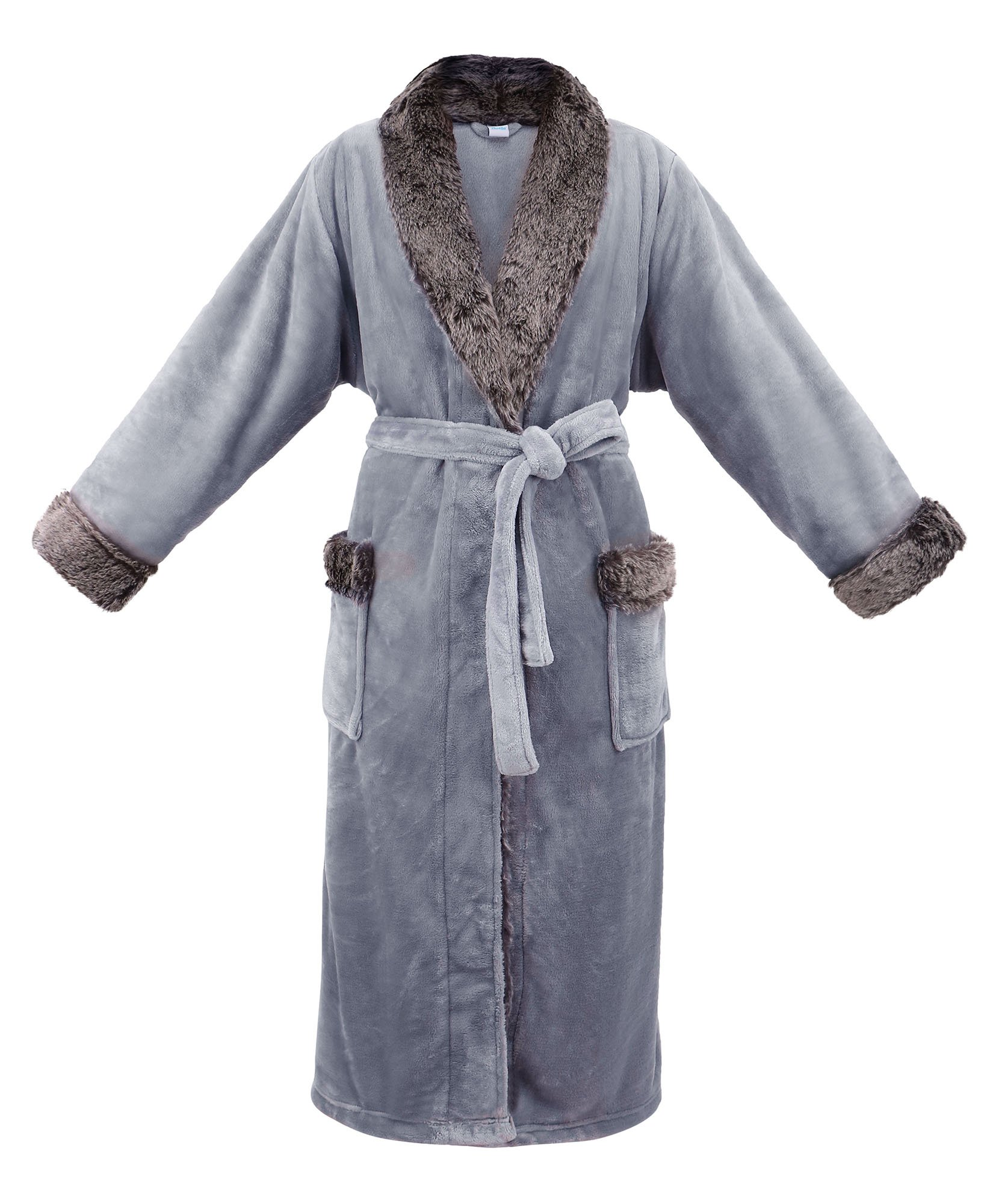 Livingston Womens Pocket Velvet Fleece Bathrobe Winter Robe Faux Fur Trim 3fb145552