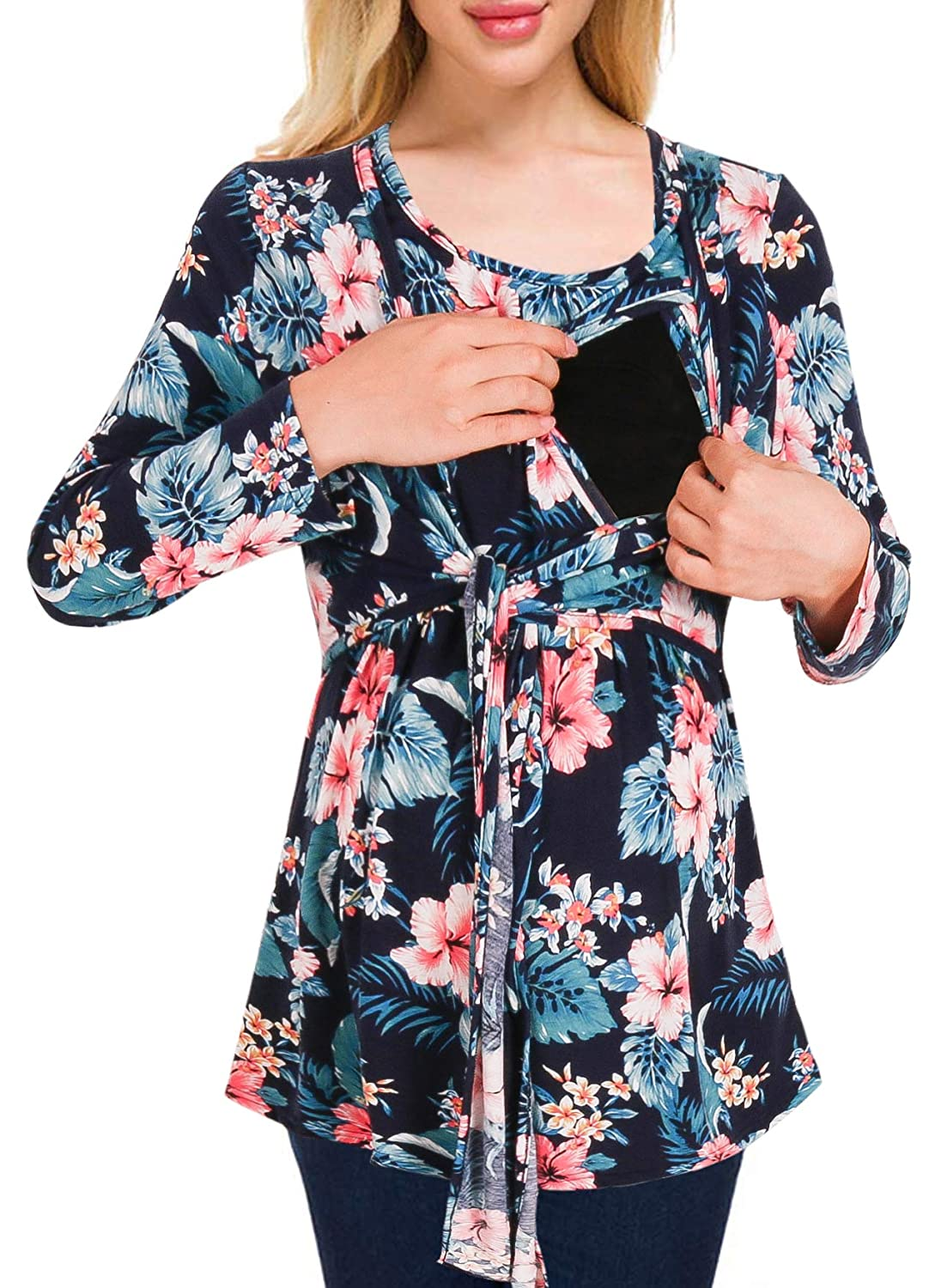 Cinery Women's Tie Front Maternity Top Floral Nursing Tunic Tops for Breastfeeding