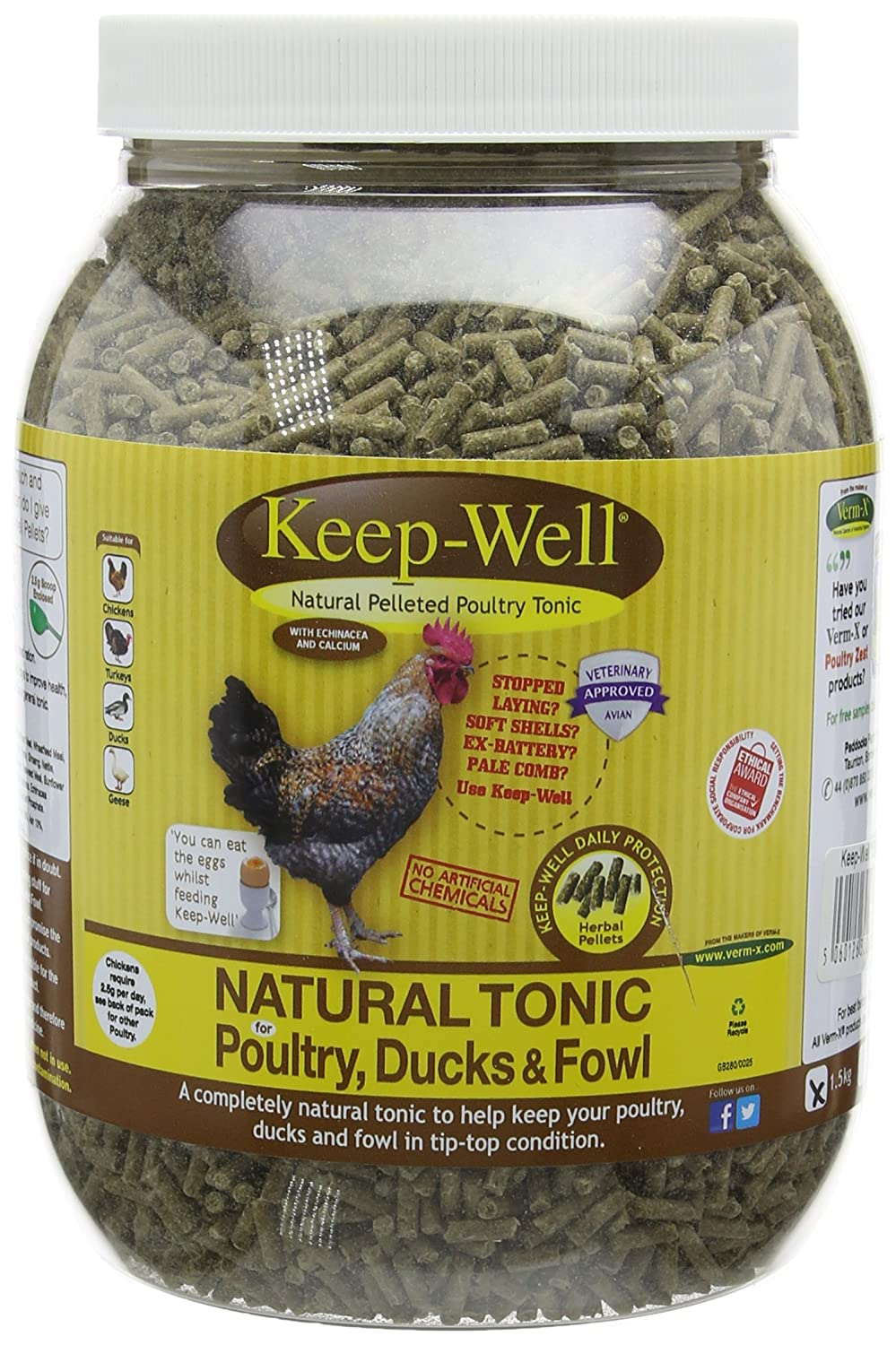 1.5kg Verm-X Keep-Well for all Poultry, 1.5 Kg