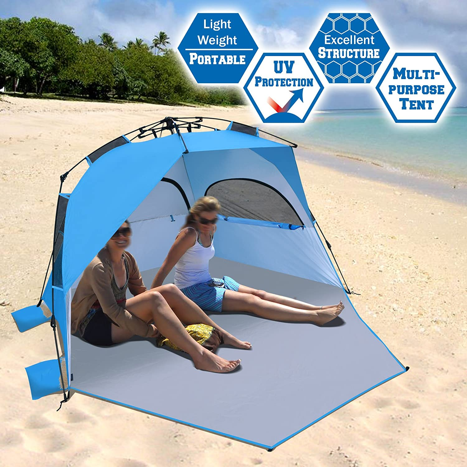 BenefitUSA Easy Pop Up Beach Tent Instant Sun Shelter Canopy