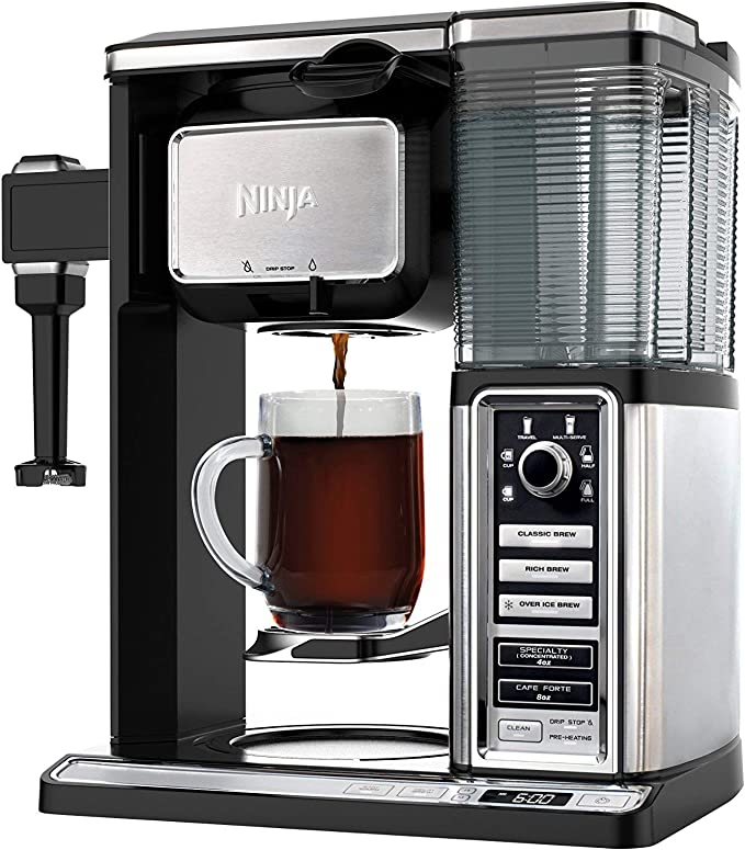 Ninja Coffee Bar Auto-iQ Programmable Coffee Maker with 6 Brew Sizes, 5 Brew Options, Milk Frother, Removable Water Reservoir and Glass Carafe (CF091) ...