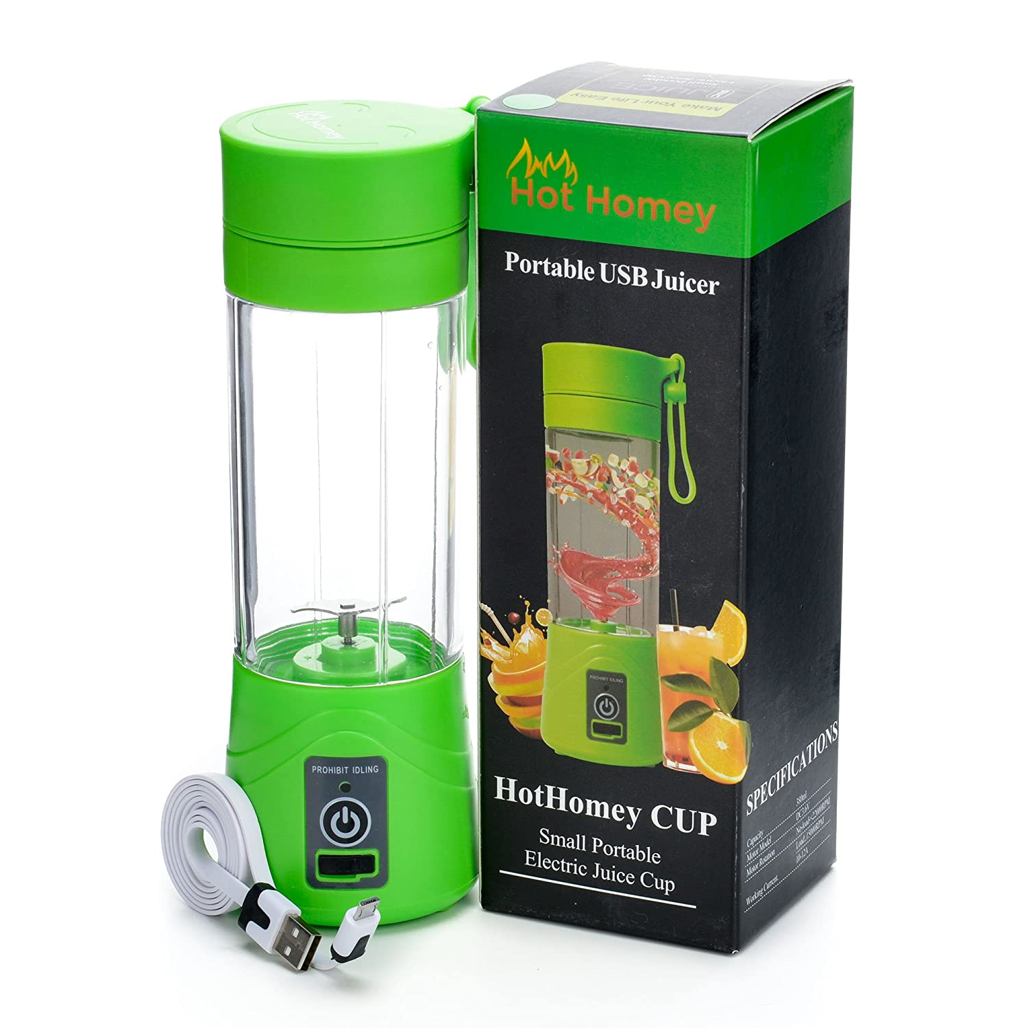 Hot Homey Portable Rechargeable USB Juicer Cup - 380ml Electric Personal Blender - Fruit Mixer - Protein Shaker - Protein Mixer with USB Charger Cable - Perfect for Home & Office Benols Enterprise HHUSBB-GRN01