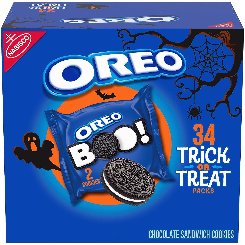 OREO Chocolate Sandwich Halloween Cookies, 34 Trick or Treat Snack Packs (2 Cookies Per Pack)