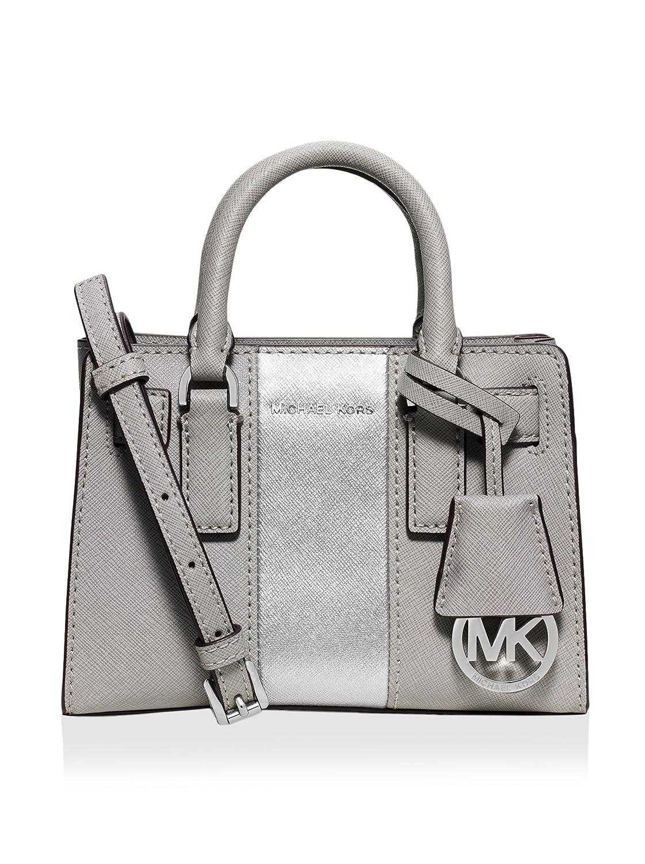 01ba0d4e3157 MICHAEL Michael Kors Metallic Center Stripe Dillon Extra Small Top Zip  Crossbody, Pearl Grey/Silver: Handbags: Amazon.com