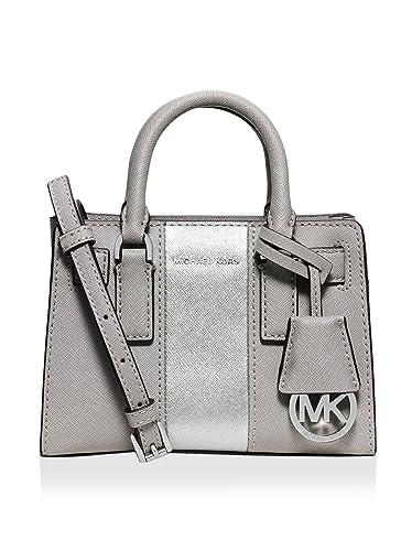 d22cf0b50639 MICHAEL Michael Kors Metallic Center Stripe Dillon Extra Small Top Zip  Crossbody, Pearl Grey/Silver: Handbags: Amazon.com