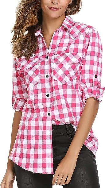 Meaneor Camisas largas de manga enrollable, con cuello en V, para mujer, sueltas e informales