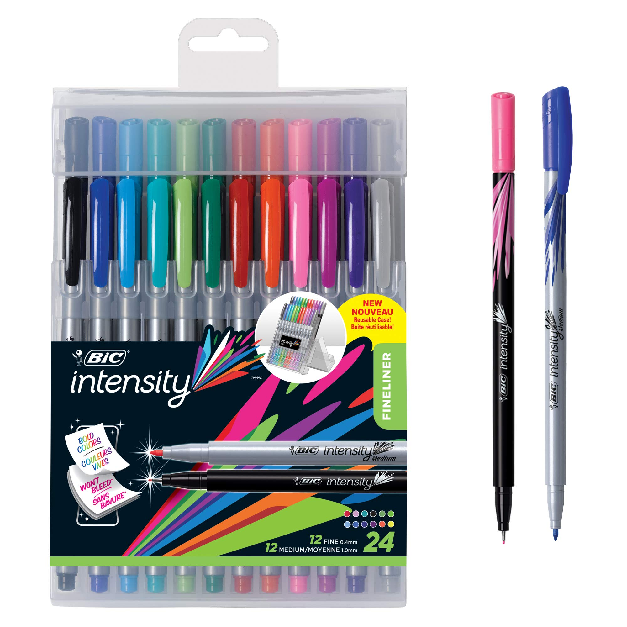 BIC Intensity Fineliner Marker Pen Easel Pack, Fine/Medium Point, Assorted Colors, 24-Count by BIC