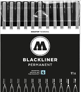 Molotow Blackliner Pen Complete Set, 11 Pens, 1 Set Each (200.485)