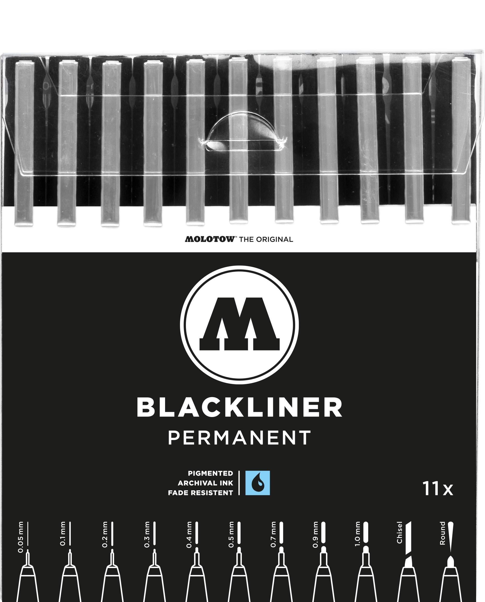 Molotow Blackliner Pen Complete Set, 11 Pens, 1 Set Each (200.485) by MOLOTOW