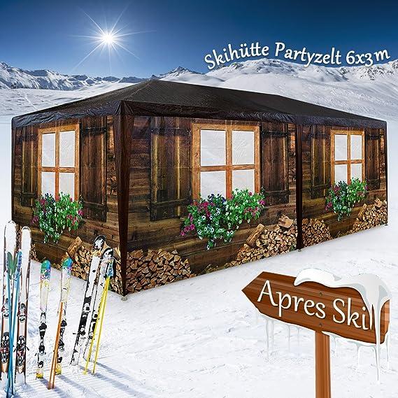 Deuba ® Carpa diseño cabaña de madera | Pabellón Oktoberfest | 6 pareces laterales | Enrrollables | 6 pies anclables | Estructura de acero | 6x3 m | 12x ...