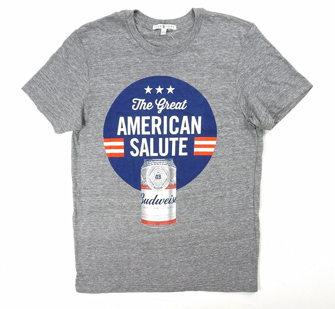 97edb7ba Amazon.com: Junk Food New Gray American Salute Budweiser Beer T-Shirt Size  L: Clothing