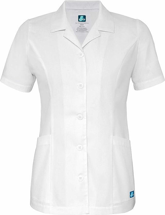 Adar Women Doctor Nurse Short Sleeve Snap Front V Neck Double Pocket Scrub Top
